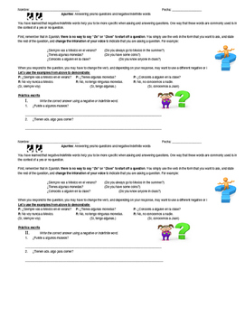 Negative and Indefinite Words- Yes or No questions notes sheet