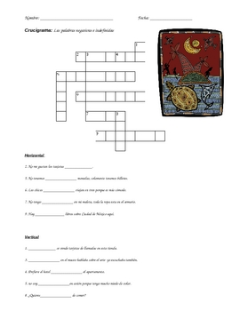 Negative and Indefinite words crossword puzzle