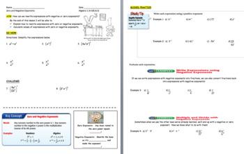 Negative and Zero Exponents