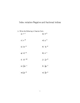 Negative and fractional indices