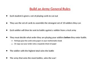 Negative (directed) Numbers Activity (add & subtract): Build an Army