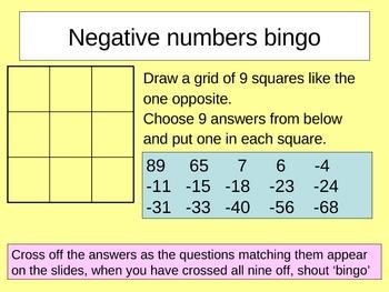 Negative numbers bingo