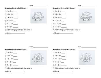 Negatives Review Bell Ringer for Algebra Beginners