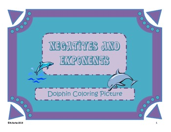 Negatives with Exponents - Dolphin Coloring Picture