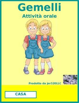 Negazione (Negation in Italian) Gemelli Twins Speaking activity