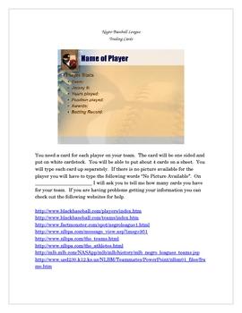 Negro Baseball League Trading Cards