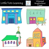 Neighborhood Clip Art - Town Clip Art - Whimsical Town Clip Art