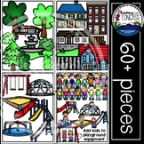 Neighborhood Clipart and Playground Clipart MEGA Set (Hous