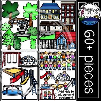 Neighborhood Clipart and Playground Clipart MEGA Bundle