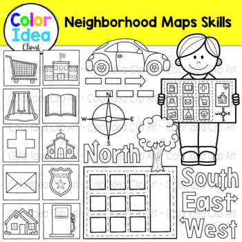 Neighborhood Map Skills Clip Art