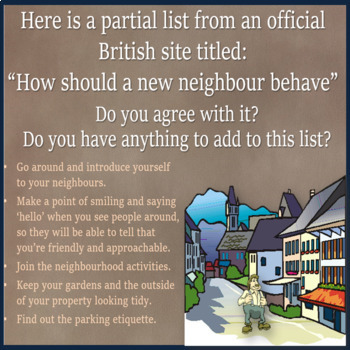 Neighbors - conversation and Role Plays for ESL Adults and kids
