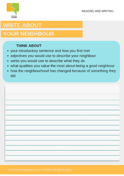 Neighbour day reading and writing activity