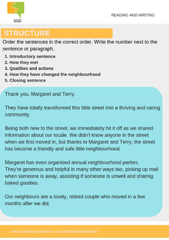 Good neighbor resource: Neighbour day reading and writing activity