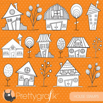 Neighbourhood house stamps commercial use, vector graphics, images - DS397