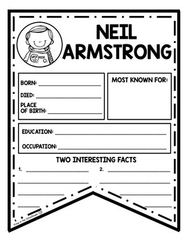 Neil Armstrong Research Activity Sheets and Graphic Organizers