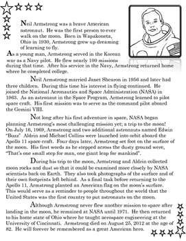 Neil Armstrong:  A Balanced Reading, Writing, Speaking, & Listening Lesson Plan