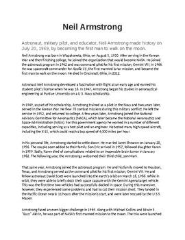 Neil Armstrong Biography and Reading Comprehension
