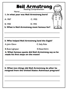 Neil Armstrong FREEBIE Biography Article & Reading Comprehension Worksheet