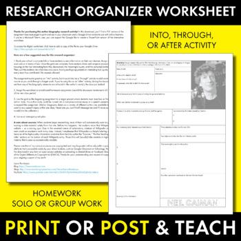 Neil Gaiman Author Study Worksheet, Easy Biography Activity, CCSS