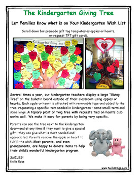 Nellie Edge Kindergarten Giving Tree Templates