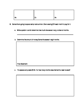 Grade 6: Patterning Test: Creating Patterns