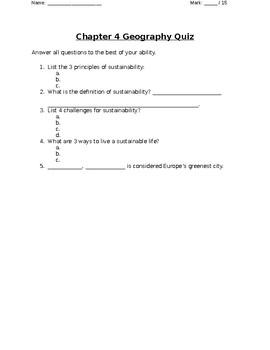 Nelson Geo 8 Chapter 4 Quiz