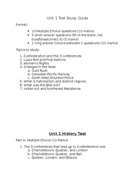 Nelson History Unit 1 Study Guide and Test