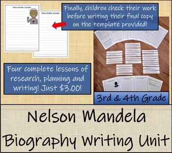 Nelson Mandela - 3rd Grade & 4th Grade Biography Writing Activity