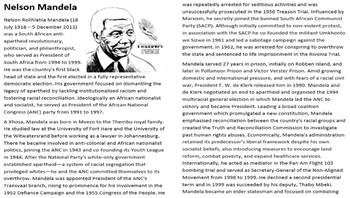 Nelson Mandela Activities & Worksheets | Teachers Pay Teachers