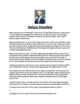 Nelson Mandela Biography Article and Assignment Worksheet