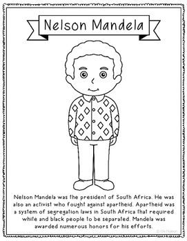 Nelson Mandela Biography Coloring Page Activity or Poster,