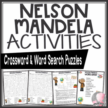 Nelson Mandela Activities Crossword Puzzle and Word Search Find