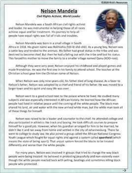 Nelson Mandela Reading Comprehension