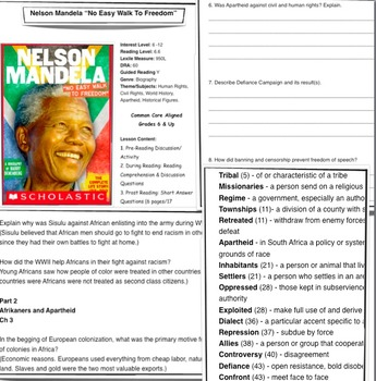 Nelson Mandela Quot No Easy Walk To Freedom Quot Lesson Plan