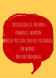 Nelson Mandela Quote Classroom Poster - Education is the m