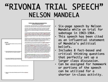 """Rivonia Trial Speech"" - Nelson Mandela - Apartheid - Glob"