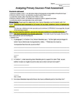 Nelson Mandela Speech Analysis Assignment