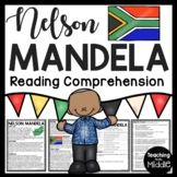 Nelson Mandela Reading Comprehension Worksheet South Africa Apartheid