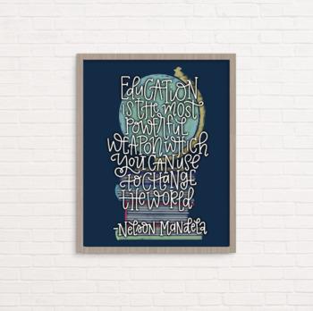 Nelson Mandela inspirational education quote, wall art, poster, classroom decor