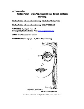 NeoPopRealist Selfportrait - ink pattern drawing inspired by Nadia Russ, gr.9-12