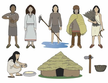 Neolithic People and Artifacts Clip Art