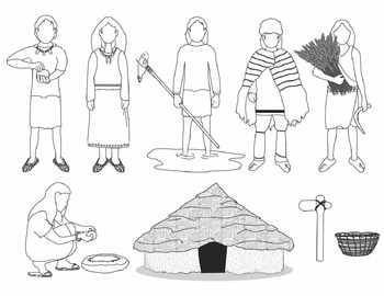 Neolithic People and Artifacts Clip Art (BLACKLINE ONLY)
