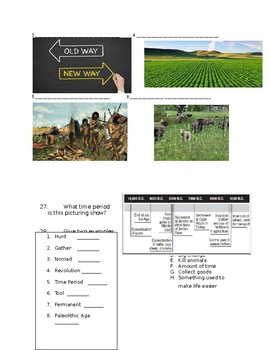 Neolithic Revolution Multiplce Choice Test and Answer Key (Level: Easy)