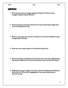 Neolithic Revolution Reading with Questions and Reader's Marks Guide