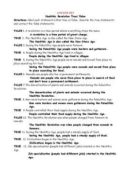 Neolithic Revolution True/ False Worksheet with Answer Key