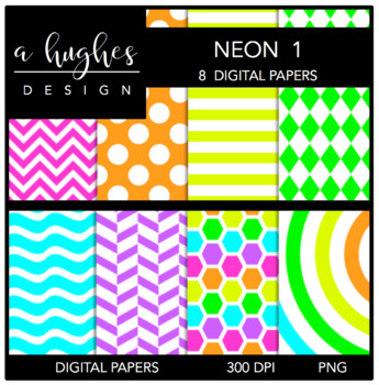 12x12 Digital Paper Set: Neon 1 {A Hughes Design}