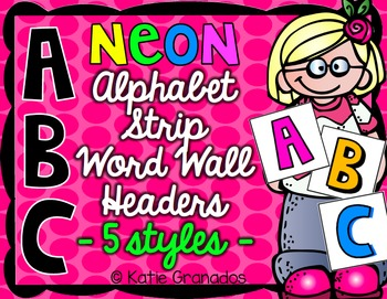 Neon Color ABC Letters for Word Wall Headers (Alphabet Strip)