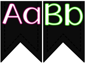 Neon Alphabet Bunting Posters