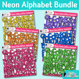 Neon Alphabet Clip Art Bundle | Glitter Classroom Decor & Resources