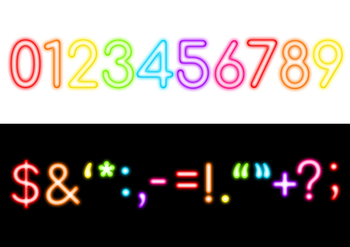 Neon Alphabet Clipart